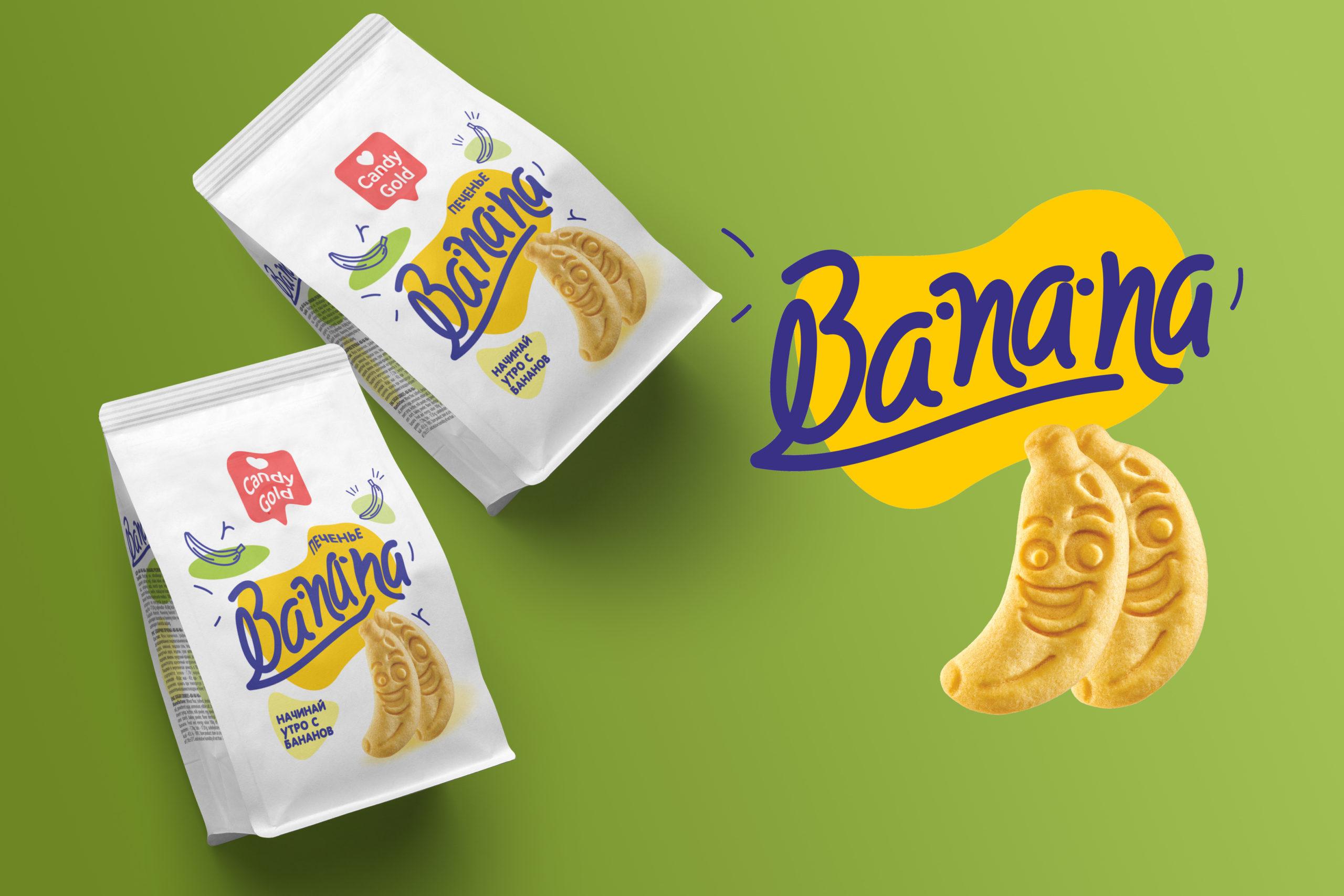 """""""Banana""""  Печенья теперь в новом и ярком упаковке. Вес продукта 300 гр."""